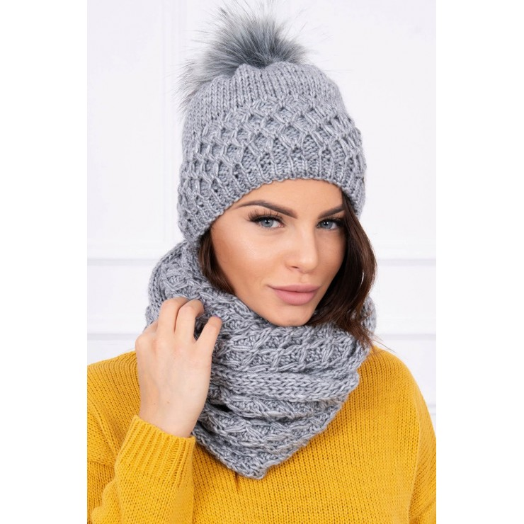 Women's Winter Set hat and scarf  MIK119 dark gray