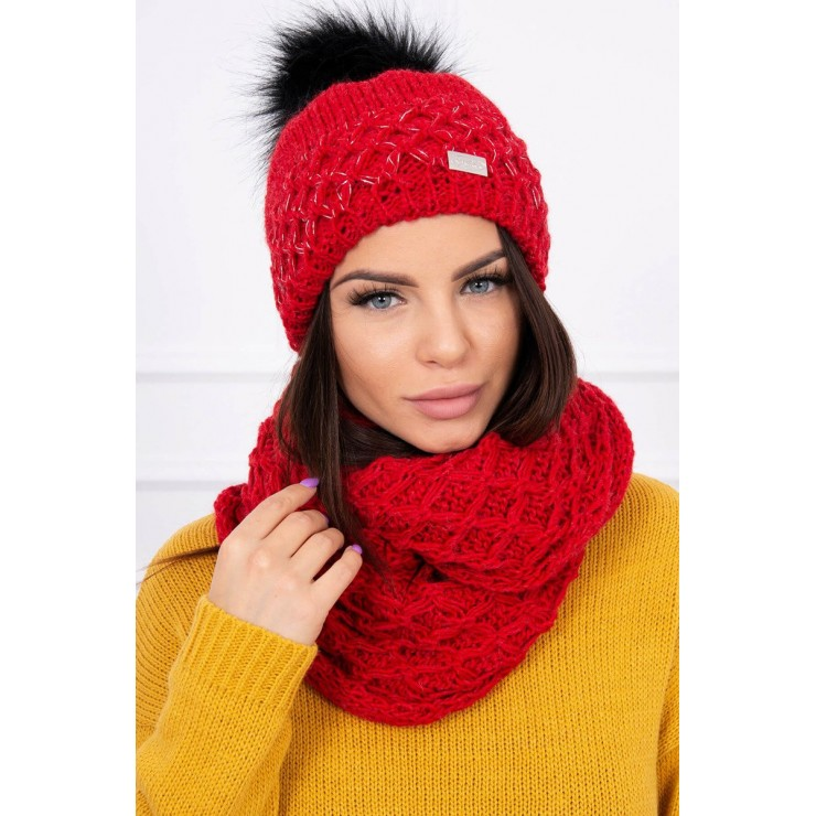Women's Winter Set hat and scarf  MIK119 red