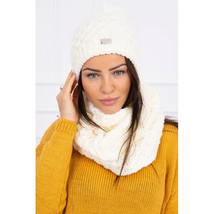 Women's Winter Set hat and scarf  MIK119 cream
