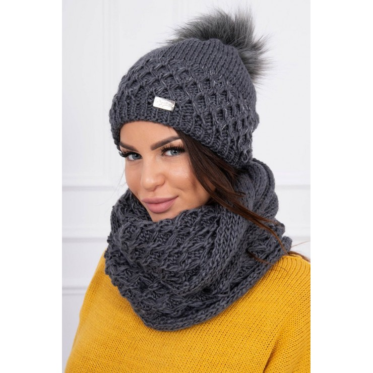 Women's Winter Set hat and scarf  MIK119 graphite