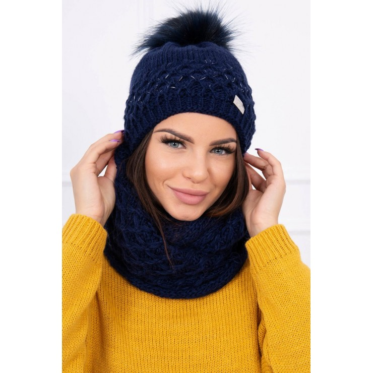 Women's Winter Set hat and scarf  MIK119 blue