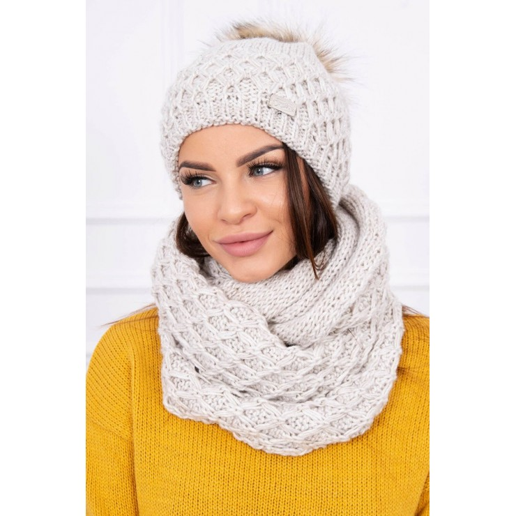 Women's Winter Set hat and scarf  MIK119 light beige
