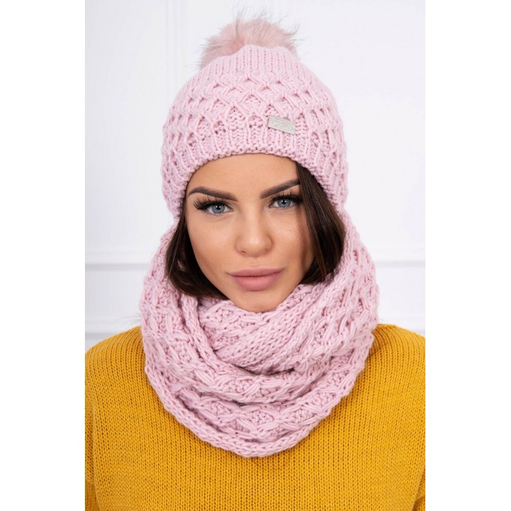 Women's Winter Set hat and scarf  MIK119 powder pink