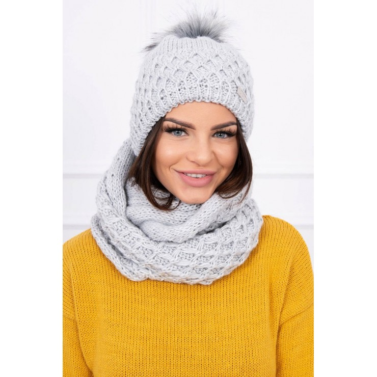 Women's Winter Set hat and scarf  MIK119 gray