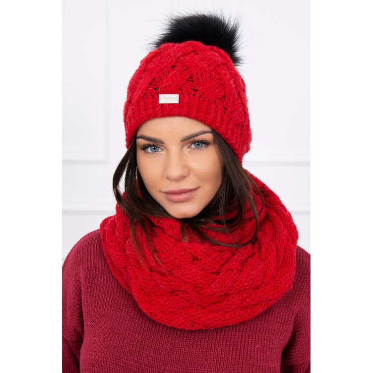 Women's Winter Set hat and scarf  MIK112 red