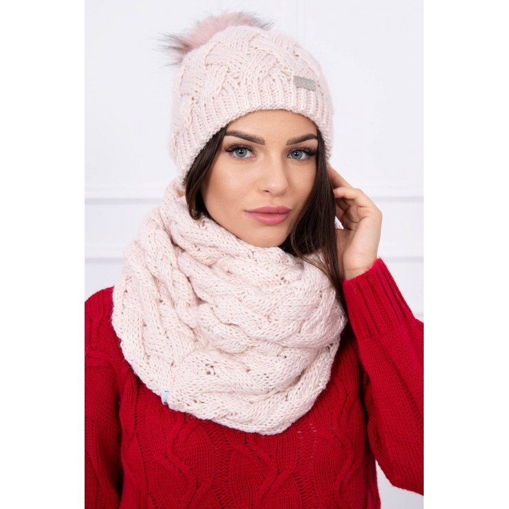 Women's Winter Set hat and scarf  MIK112 light pink