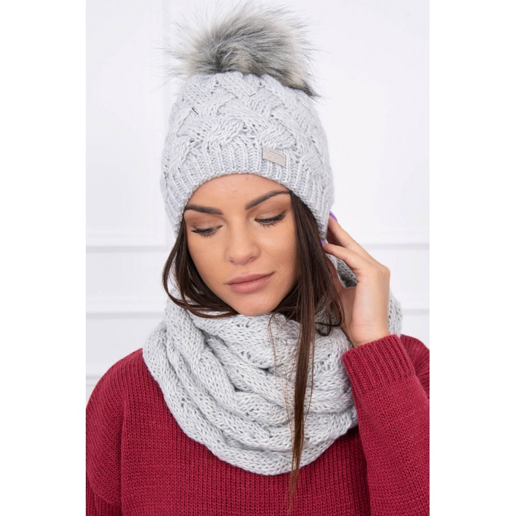 Women's Winter Set hat and scarf  MIK112 gray