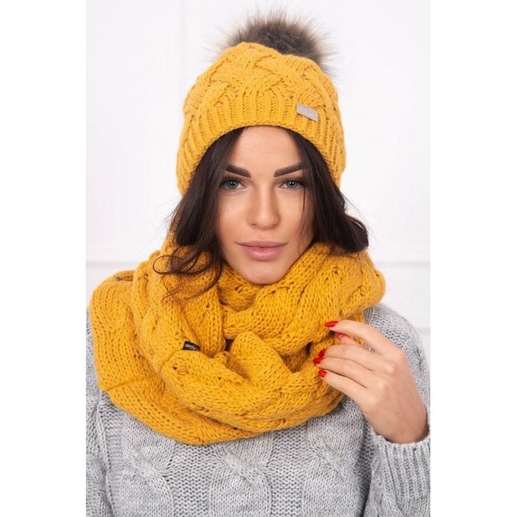 Women's Winter Set hat and scarf  MIK112 mustard