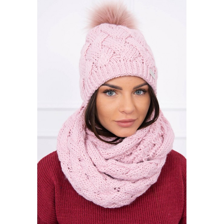 Women's Winter Set hat and scarf  MIK112 powder pink