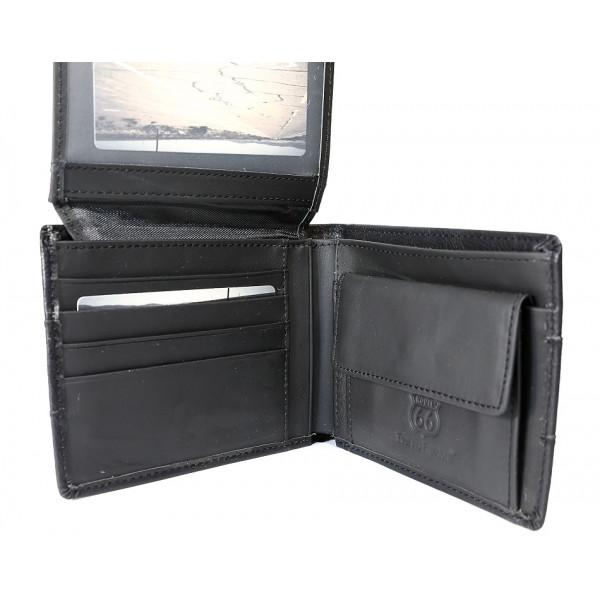 Pánska kožená peňaženka 1034 čierna Route 66 Čierna