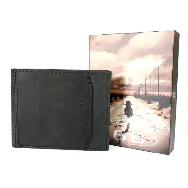 Pánska kožená peňaženka 1032 čierna Route 66 Čierna