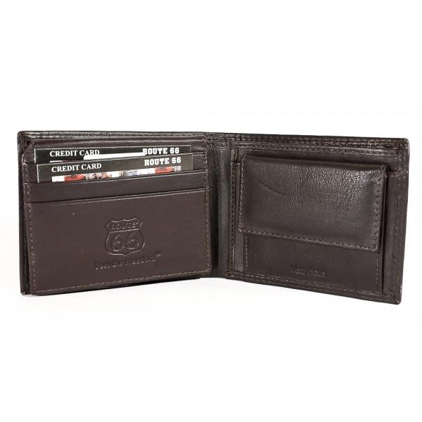 Pánska kožená peňaženka 1028 tmavohnedá Route 66 Hnedá