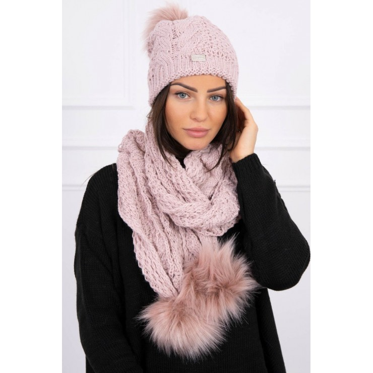 Women's Winter Set hat and scarf  K110 powder pink