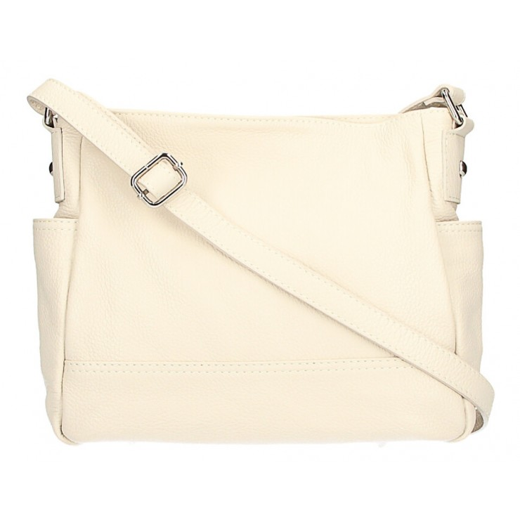 Leather shoulder bag 1214 beige Made in Italy