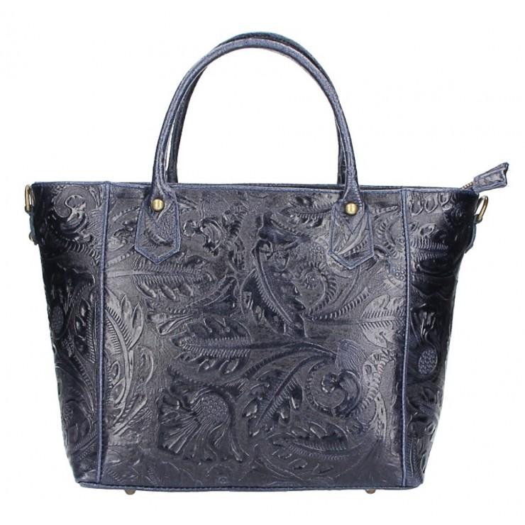 Genuine Leather Handbag 405 dark blue