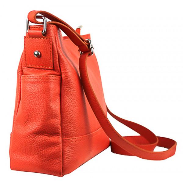 Kožená kabelka na rameno 1214 lososová Made in Italy