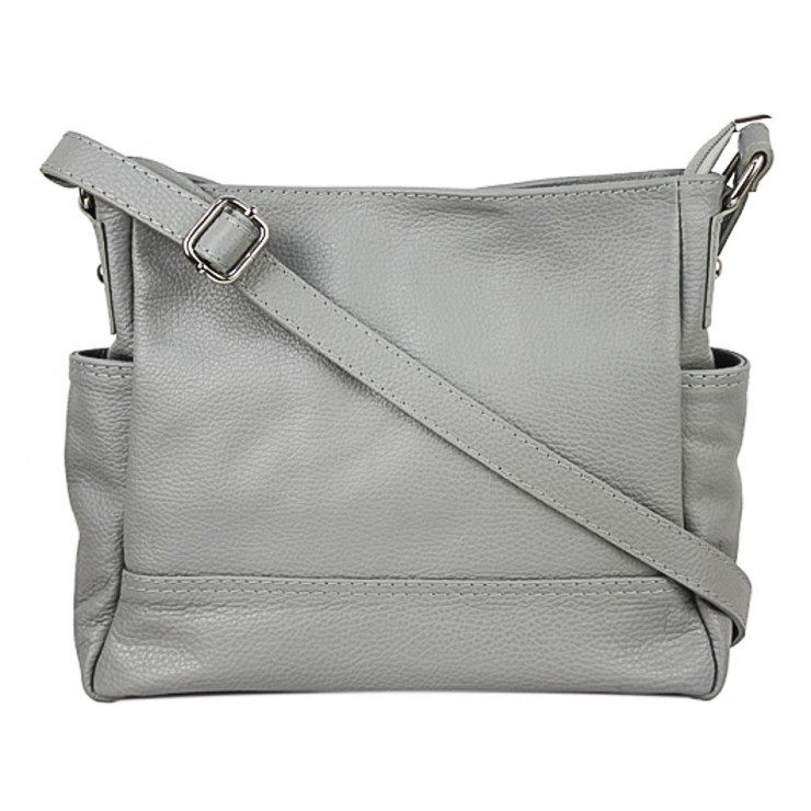 Leather shoulder bag 1214 gray Made in Italy