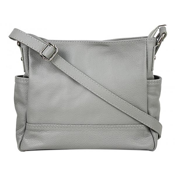 Kožená kabelka na rameno 1214 šedá Made in Italy