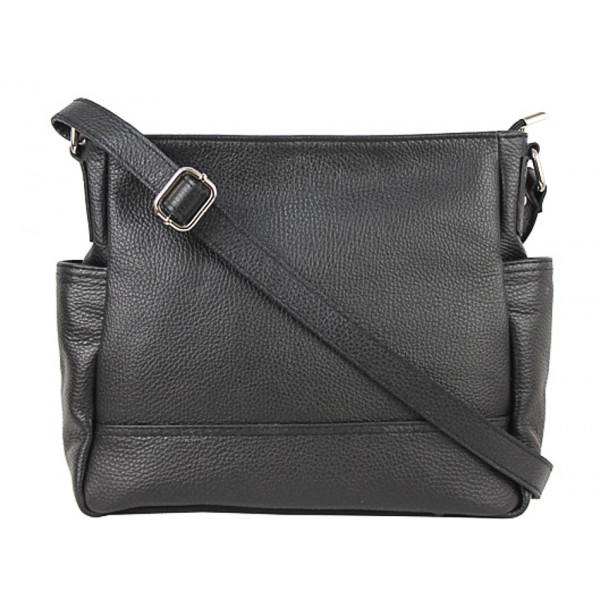 Kožená kabelka na rameno 1214 čierna Made in Italy Čierna
