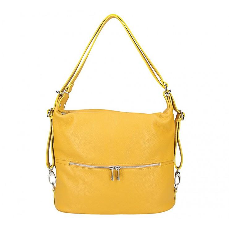 Kožená kabelka na rameno/batoh 328 okrová