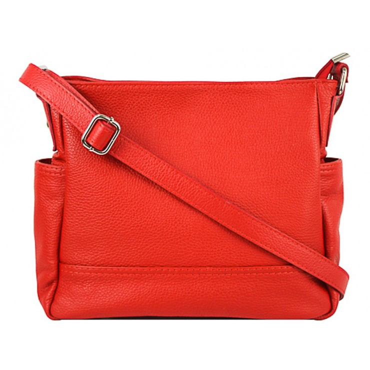 Leather shoulder bag 1214 red Made in Italy