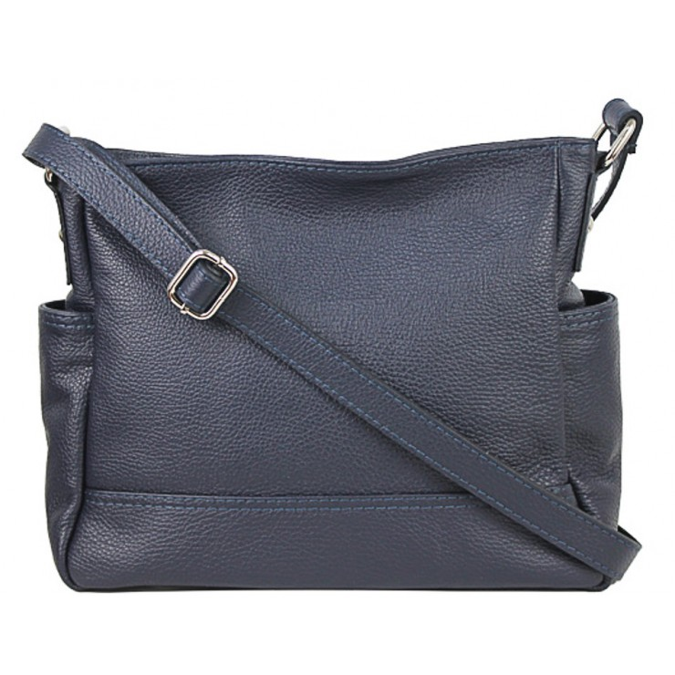Leather shoulder bag 1214 blue Made in Italy