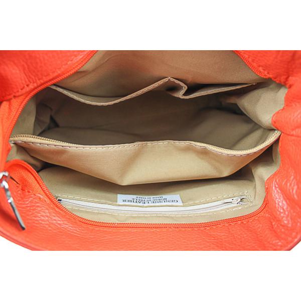 Kožená kabelka na rameno 1214 koňaková Made in Italy