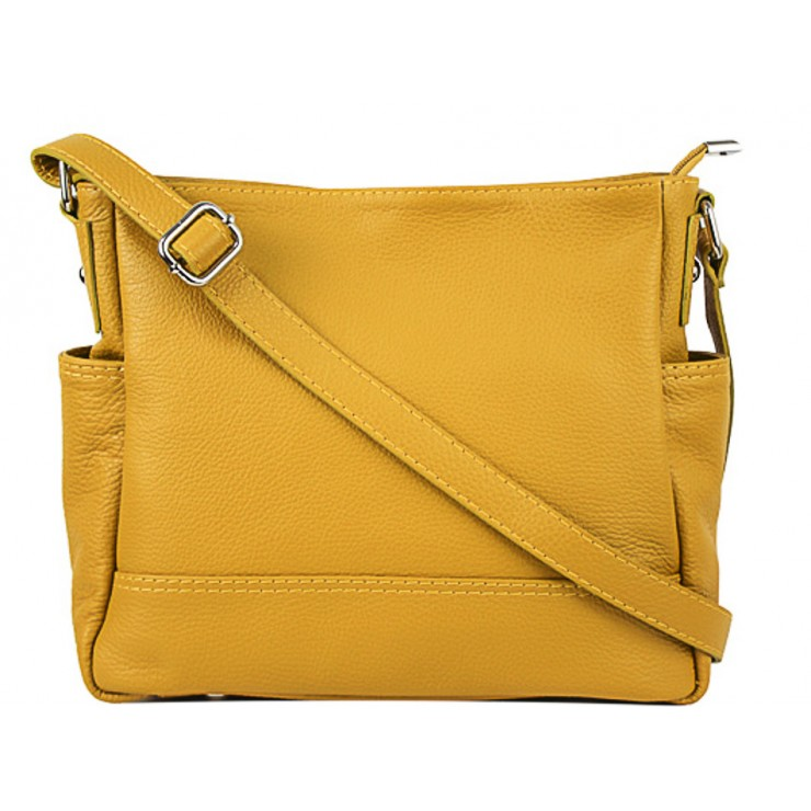 Leather shoulder bag 1214 mustard Made in Italy