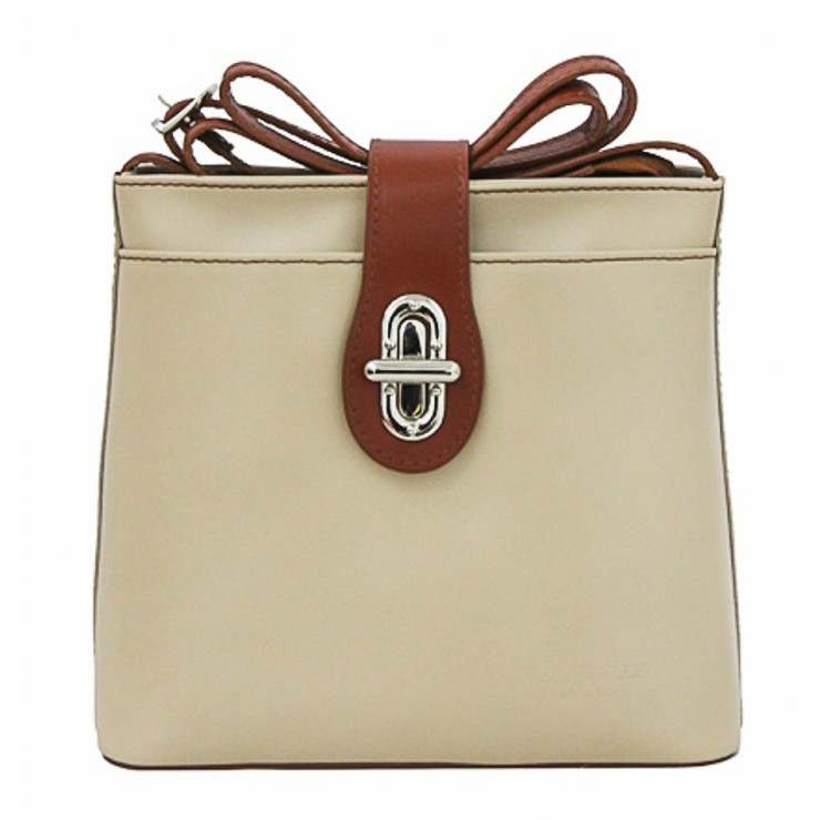 Leather Messenger Bag 181 beige Made in Italy