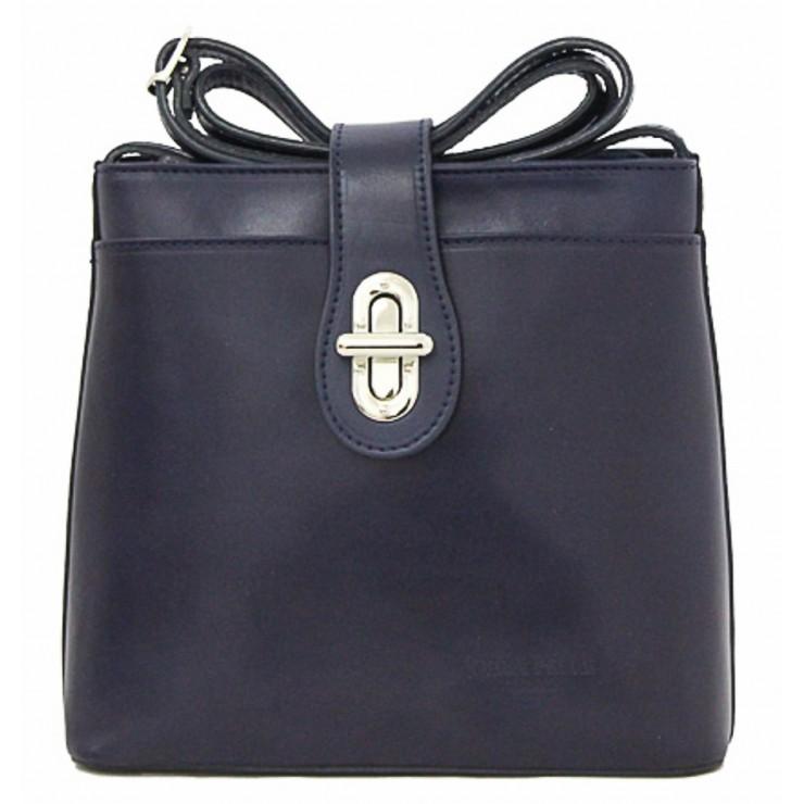 Kožená kabelka na rameno 118 modrá Made in Italy