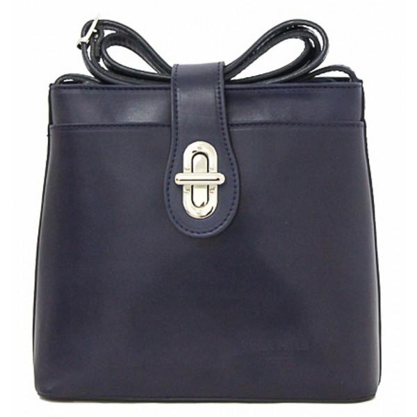 Kožená kabelka na rameno 118 modrá Made in Italy Modrá
