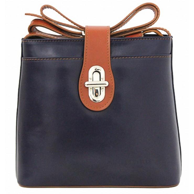 Kožená kabelka na rameno 118 modrá+koňak Made in Italy