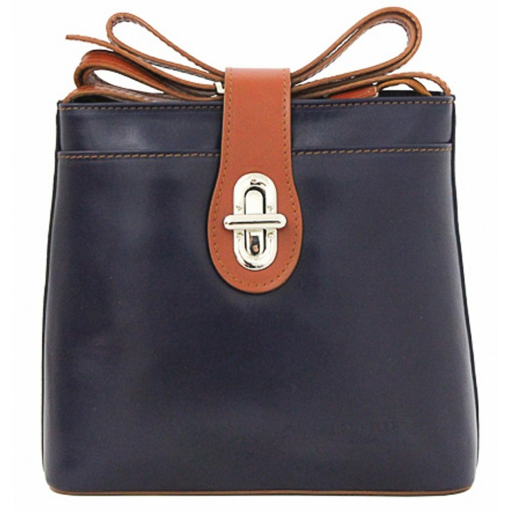 Leather Messenger Bag 118 blue+cognac Made in Italy