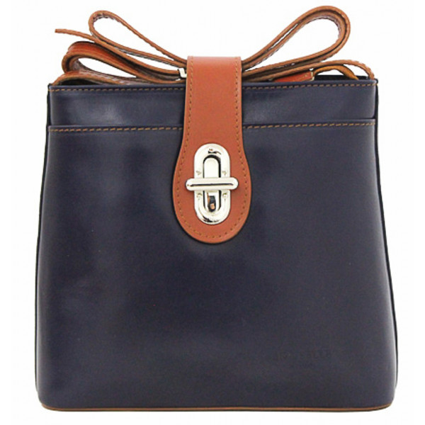 Kožená kabelka na rameno 118 modrá+koňak Made in Italy Modrá