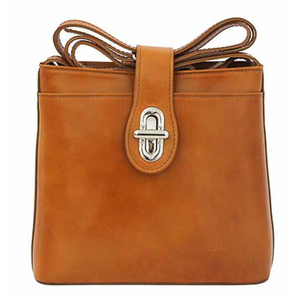 Kožená kabelka na rameno 118 koňaková Made in Italy Koňak