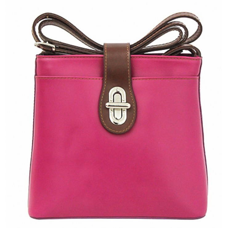 Leather Messenger Bag 181 fuxia Made in Italy