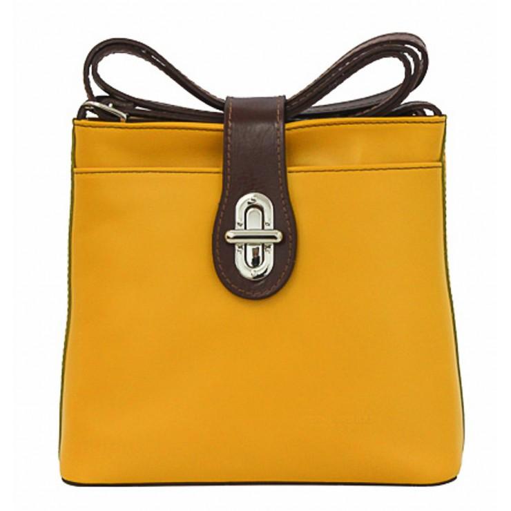 Kožená kabelka na rameno 118 žltá Made in Italy