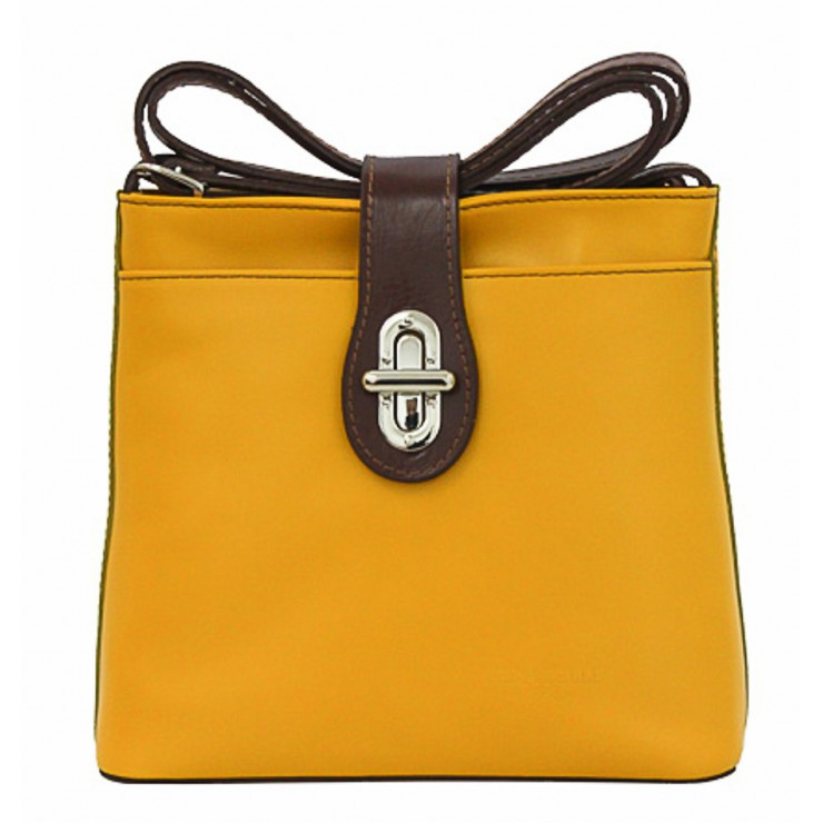 Leather Messenger Bag 181 yellow Made in Italy