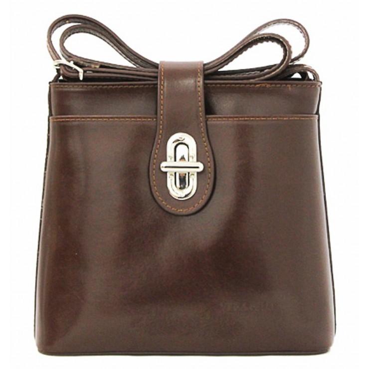 Kožená kabelka na rameno 118 hnedá Made in Italy