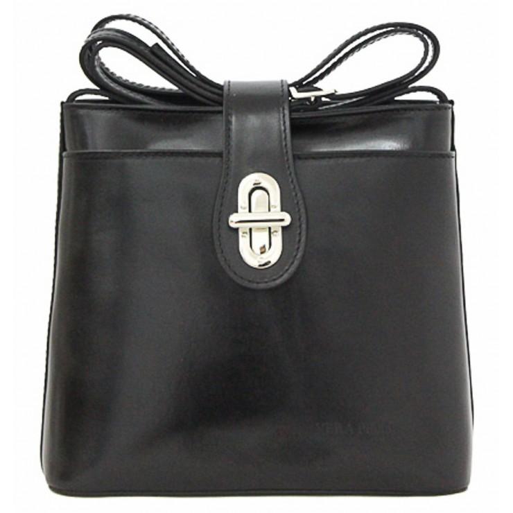Kožená kabelka na rameno 118 čierna Made in Italy