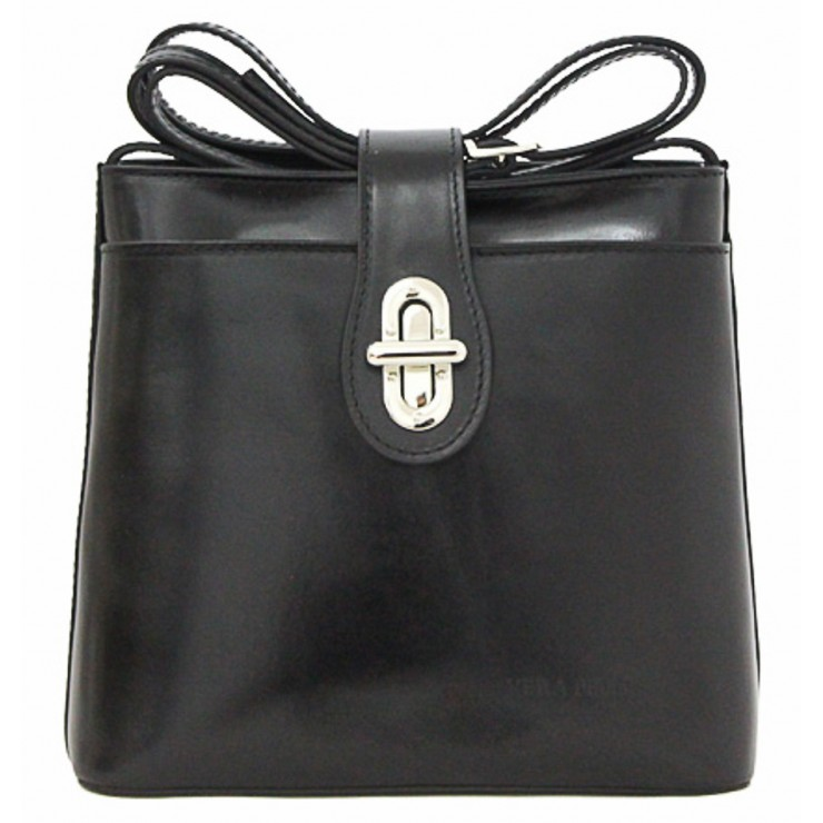 Leather Messenger Bag 118 black Made in Italy