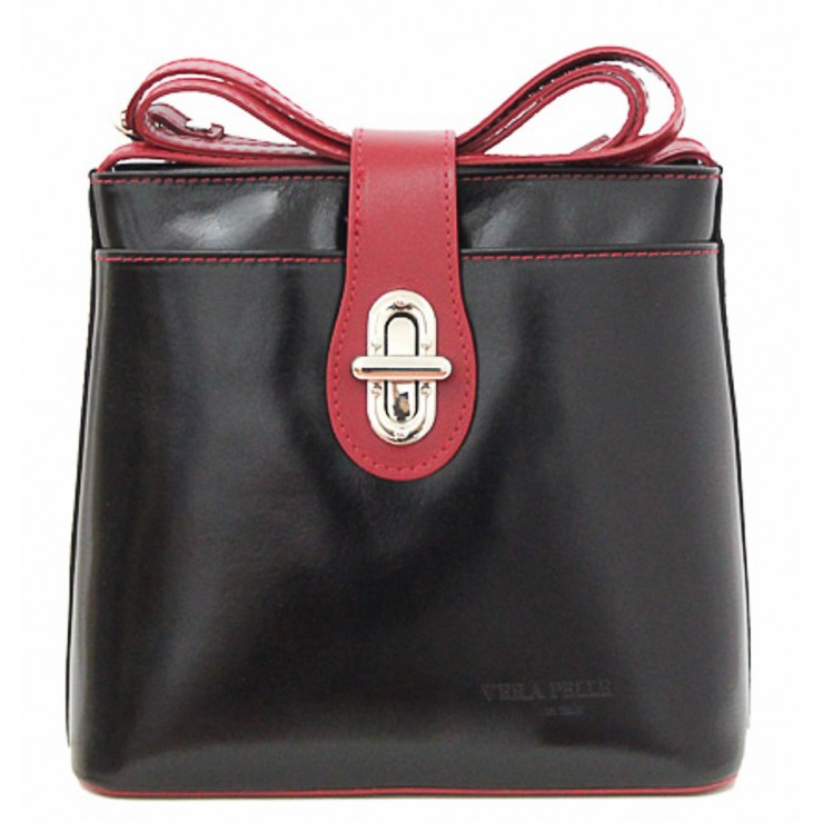 Leather Messenger Bag 181 black+red Made in Italy