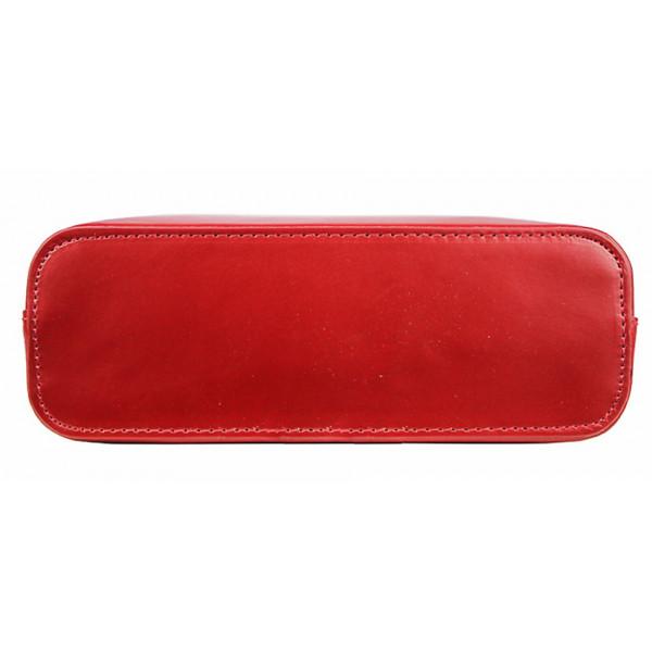 Kožená kabelka na rameno 118 čierna+červená Made in Italy Čierna