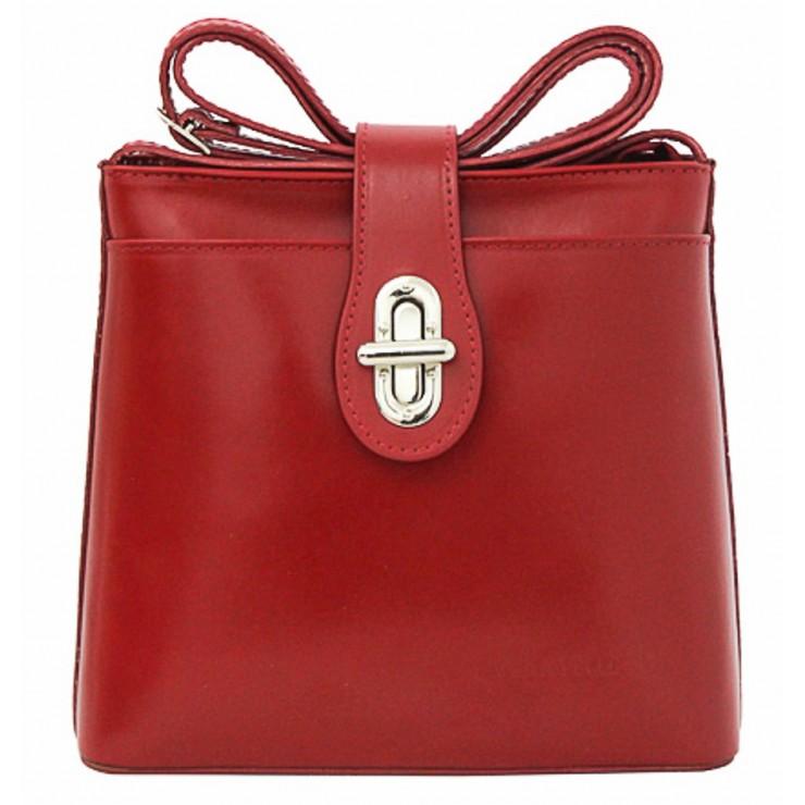 Kožená kabelka na rameno 118 červená Made in Italy