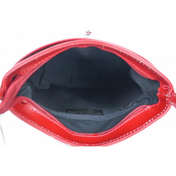 Kožená kabelka na rameno 118 červená Made in Italy Červená