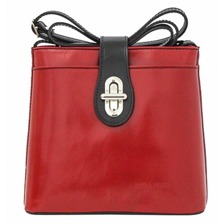 Kožená kabelka na rameno 118 červená+čierna Made in Italy