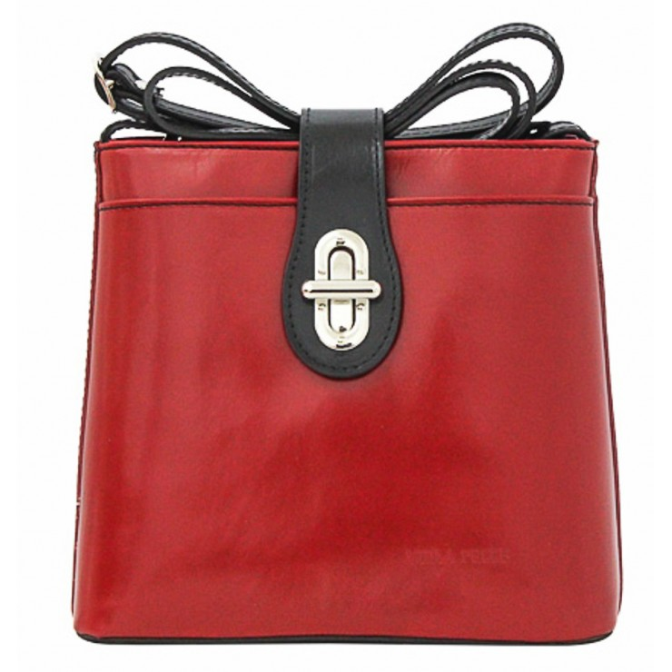Leather Messenger Bag 181 red+black Made in Italy