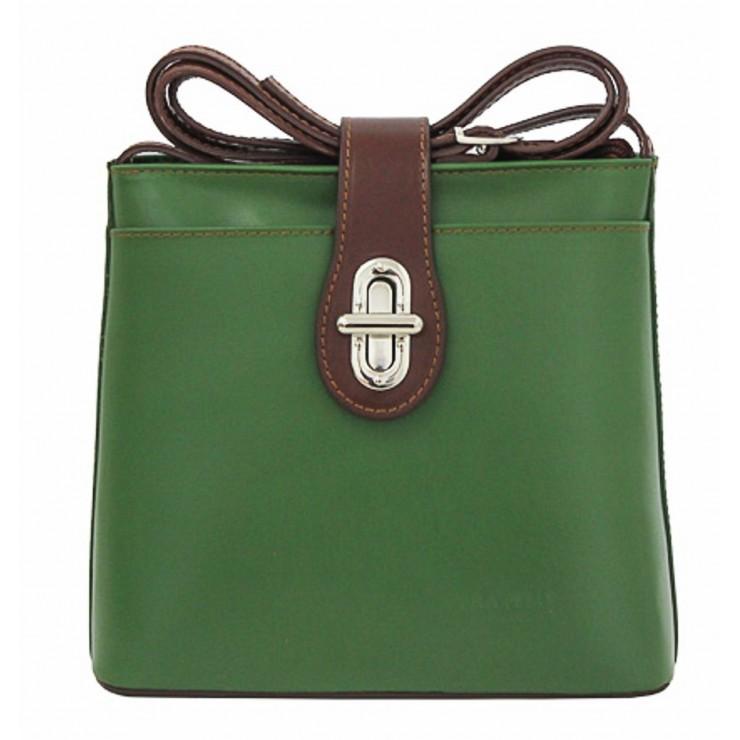Kožená kabelka na rameno 118 zelená Made in Italy