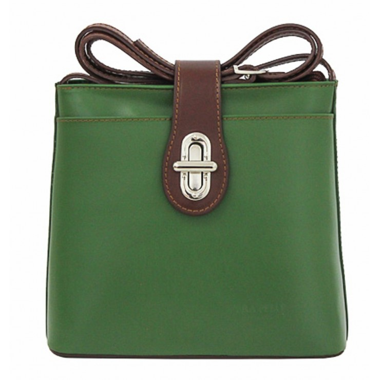 Leather Messenger Bag 181 green Made in Italy