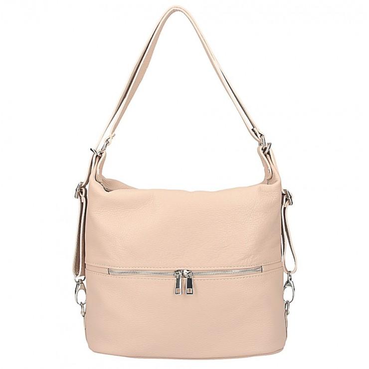 Kožená kabelka na rameno/batoh 328 pudrová ružová